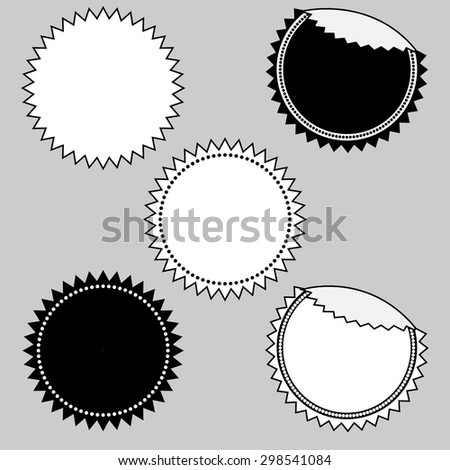 Set of simple seal, stamp, sticker, tag, label, badge in black and white - stock photo