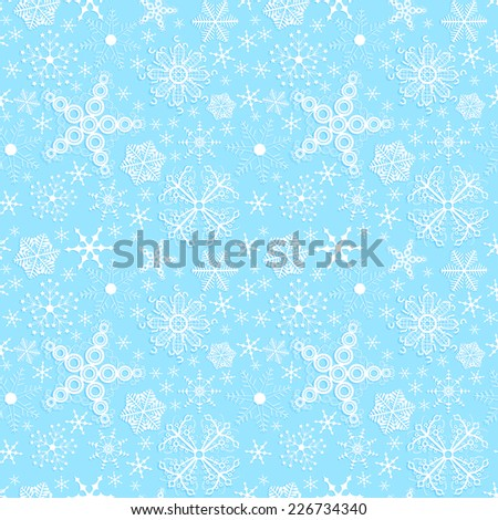 Set of simple seamless backgrounds with snowflakes.  - stock photo