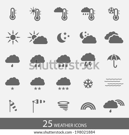 Set of simple weather icons with white background in bitmap format