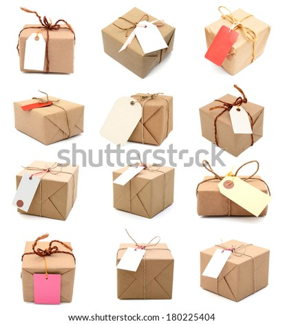 Set of single Parcel with blank tag, isolated on white  - stock photo