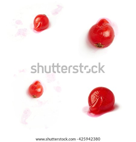 Set of Single red ripe  Currant berries isolated over white background - stock photo