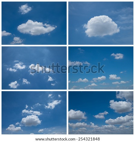 Set of six blue Sky daylight collection,White cumulus clouds and a blue sky. - stock photo