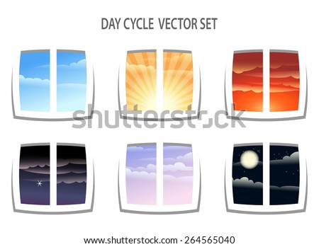 Set of six  colorful day cycle images. Different times of the day from window view. Isolated on white background. - stock photo