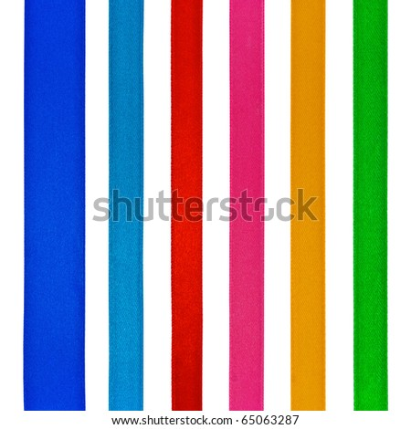 Set of six different color satin ribbons, isolated on white - stock photo