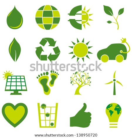Set of sixteen bio eco environmental related icons and symbols