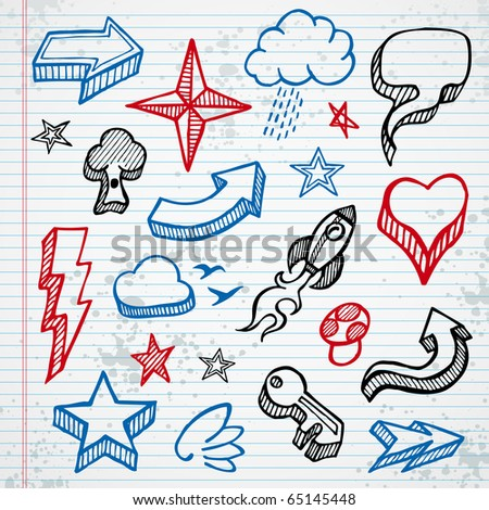 Set of sketched icons and shapes on notepad background - stock photo