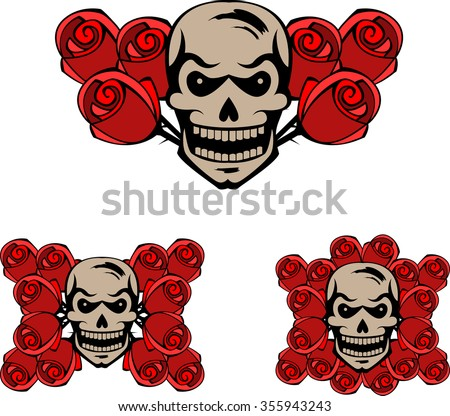 Set of skulls and red roses