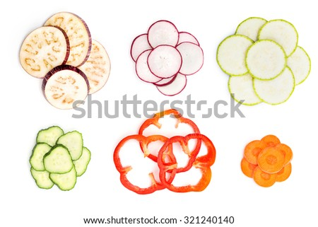 Set of sliced vegetables isolated on white background