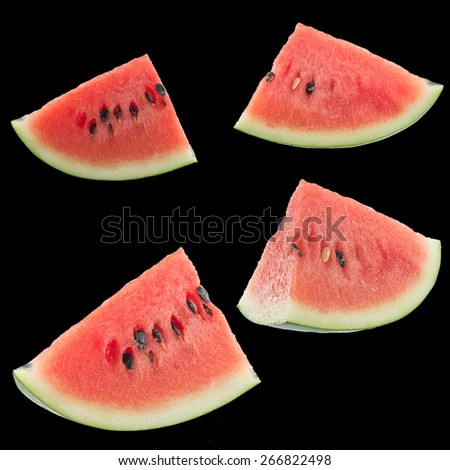 set of 4 slices of watermelon - stock photo