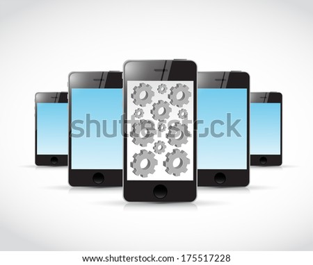set of smartphones and gears illustration design over a white background - stock photo