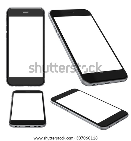 Set of Smartphones with blank screen, isolated on white background - high detailed 3d render illustration  - stock photo