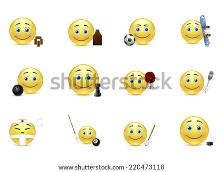 Set of smiles sport edition - stock photo