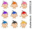 Set of smilies girls with colored hair, symbolising various human emotions - stock photo