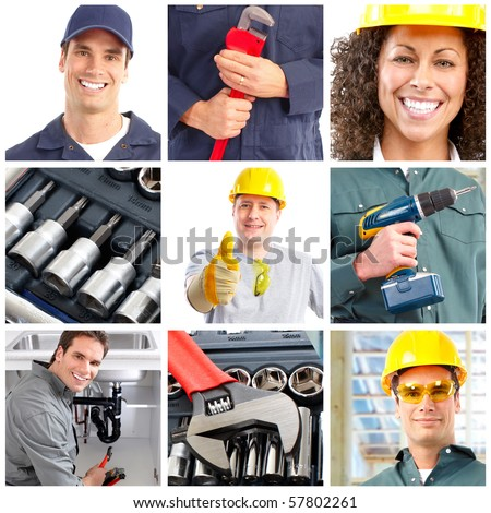 Set of smiling workers and tools
