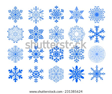 set of snowflakes, illustration version - stock photo