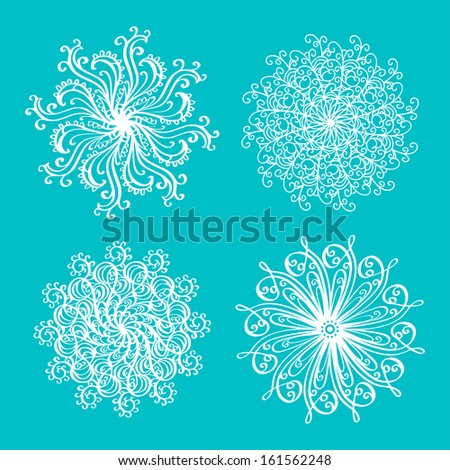 Set of snowflakes isolated - raster version - stock photo