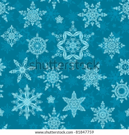 Set of snowflakes of different designs and sizes. Seamless. Raster version.