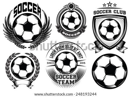 Set of Soccer Football Badge and Logo Design Templates - stock photo