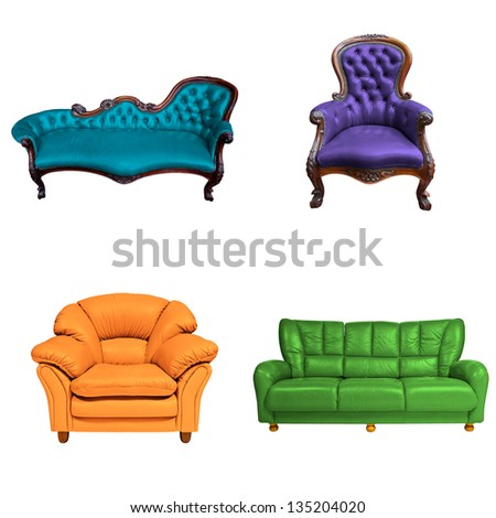 set of sofa isolated on white background - stock photo