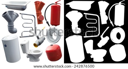 Set of some sanitary engineering objects for designers (with mask) - stock photo