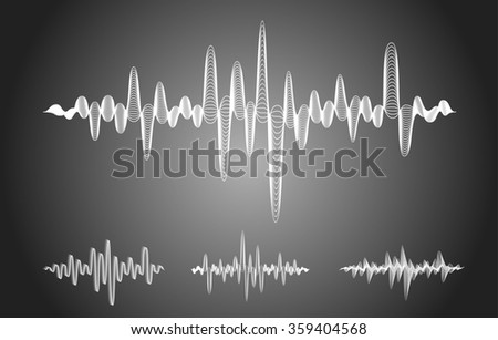 Set of sound equalizer waves on gray background - stock photo