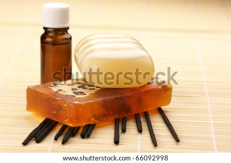 Set of SPA accessories on mat. - stock photo