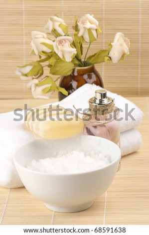 Set of SPA accessories on wooden mat.