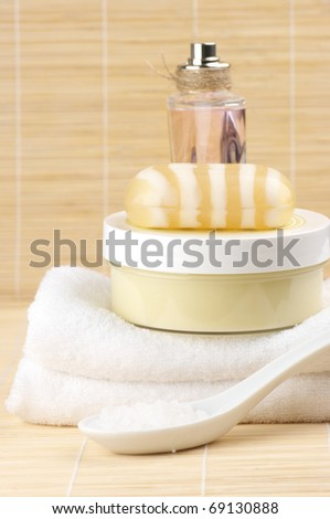 Set of SPA accessories on wooden mat. - stock photo