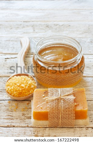 Set of spa honey objects - stock photo