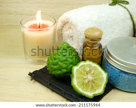 set of spa on wooden background - stock photo