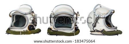 Set of space helmets isolated on a white background.  - stock photo