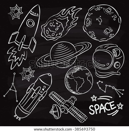 Set of space themed doodle on chalk board
