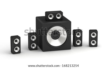 Set of speakers multimedia low cost 5.1 audio system on white background - stock photo