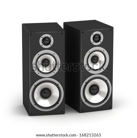 Set of speakers tall stereo hi-fi audio system on white background