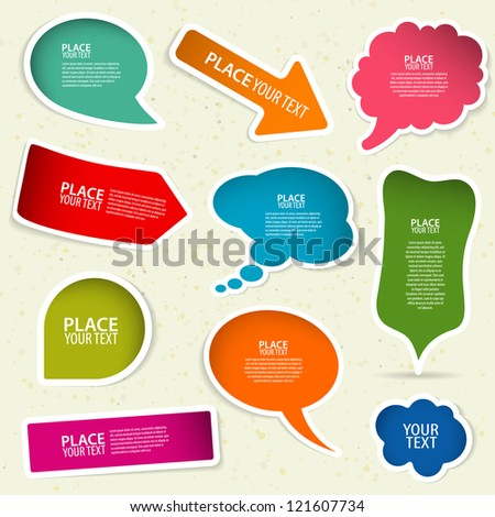 Set of speech and thought bubbles, element for design, illustration - stock photo