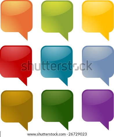 Set of speech bubble icons in multiple colors - stock photo