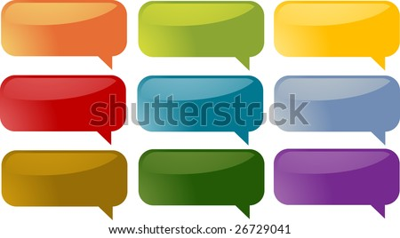 Set of speech bubble icons in multiple colors