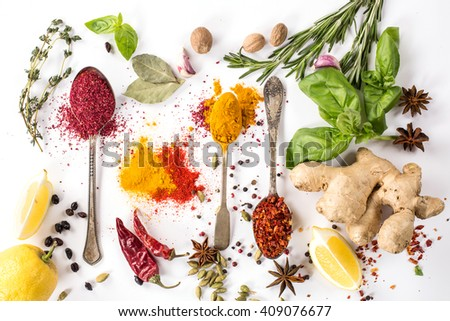 set of spices, herbs and vegetables on a white background