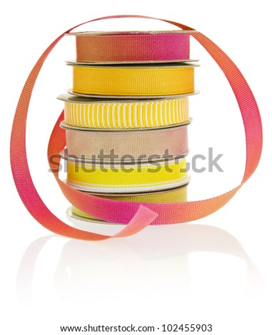 Set of 6 spools of ribbon, isolated on a white background.