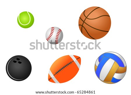 Set of sport balls isolated on white. Vector version also available in gallery - stock photo