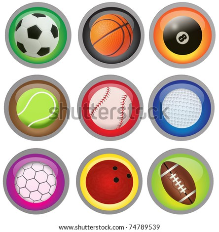 Set of sport buttons in different colors with balls, raster illustration