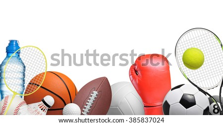 Set of sport items isolated on white background - stock photo