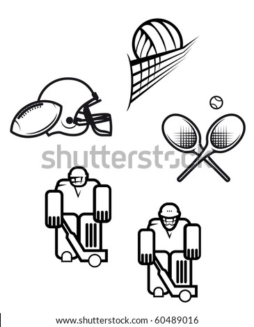 Set of sport symbols isolated on white. Vector version also available - stock photo