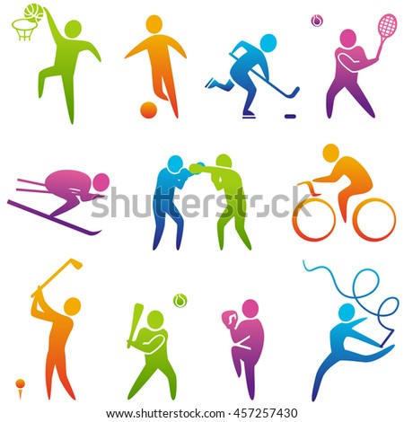 Set of sports icons: basketball, soccer, hockey, tennis, skiing, boxing, wrestling, cycling, golf, baseball, gymnastics. Sport icons illustration
