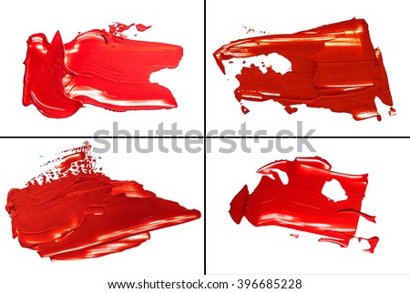 set of spot red  blotch oil paint  isolated on white background - stock photo