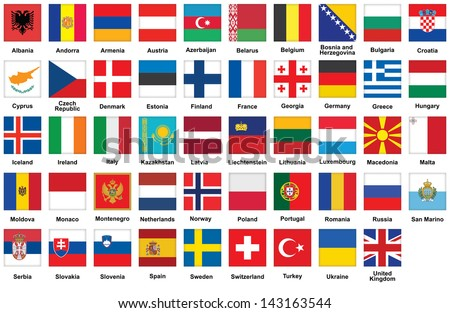 set of square icons with flags of Europe - stock photo