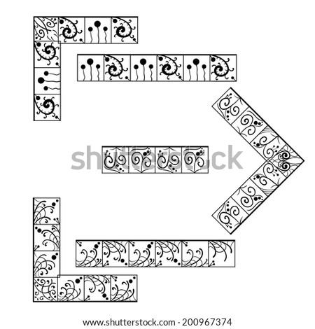 Set of square shaped ornaments for frames - stock photo