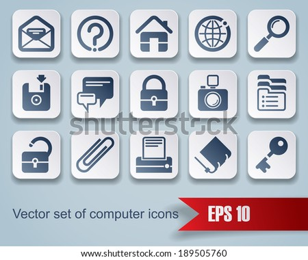 Set of square website and internet icons with red ribbon (contain the Clipping Path)