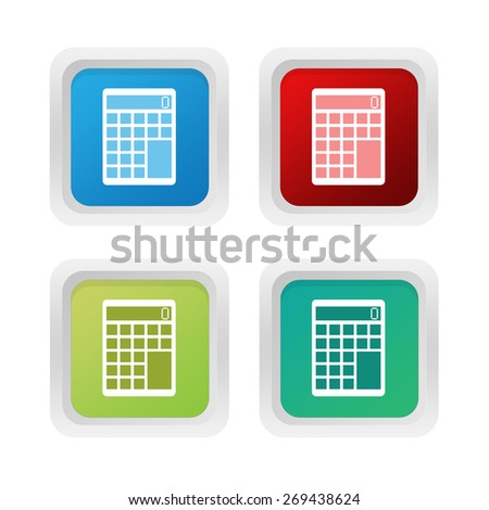 Set of squared colorful buttons with calculator symbol in blue, green and red colors - stock photo