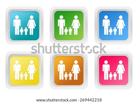 Set of squared colorful buttons with family symbol in blue, green, yellow, pink and orange colors - stock photo